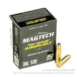20 Rounds of .38 Spl Ammo by Magtech - 125gr JHP