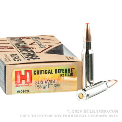 200 Rounds of .308 Win Ammo by Hornady - 155gr Polymer Tipped