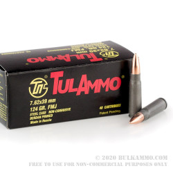 40 Rounds of 7.62x39mm Ammo by Tula - 122gr FMJ