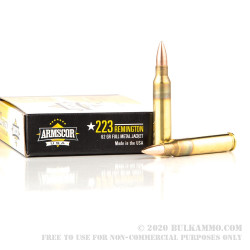 1000 Rounds of .223 Ammo by Armscor - 62gr FMJBT