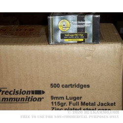 50 Rounds of 9mm Ammo by MFS - 115gr FMJ