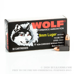 500  Rounds of 9mm Ammo by Wolf - 115gr FMJ
