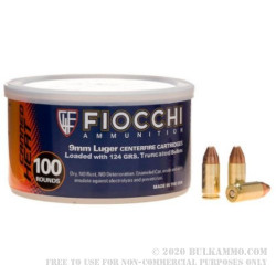 1000 Rounds of 9mm Canned Heat Ammo by Fiocchi - 124gr FMJTC