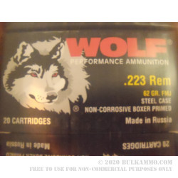 1000 Rounds of .223 Ammo by Wolf - 62gr FMJ