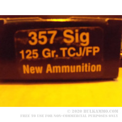 50 Rounds of .357 SIG Ammo by PCI - 125gr TCJFN
