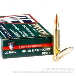 200 Rounds of .223 Ammo by Fiocchi - 69gr MatchKing HPBT