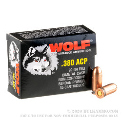 1680 Rounds of .380 ACP Ammo by Wolf Performance Ammunition - 92gr FMJ