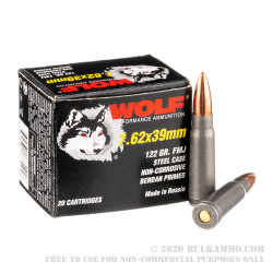20 Rounds of 7.62x39mm Ammo by Wolf Polyformance - 122gr FMJ