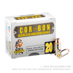 20 Rounds of 9mm +P Ammo by Corbon  - 115gr JHP