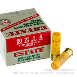 """25 Rounds of 20ga 2-3/4"""" Ammo by Estate Cartridge HV - 3/4 ounce #4 shot"""