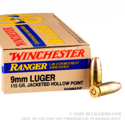 50 Rounds of 9mm Ammo by Winchester Ranger - 115gr JHP