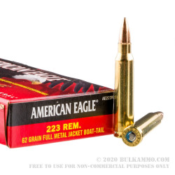 20 Rounds of .223 Ammo by Federal - 62gr FMJBT