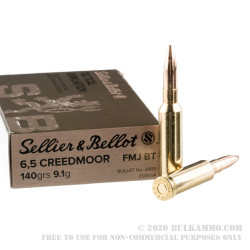 20 Rounds of 6.5 mm Creedmoor Ammo by Sellier & Bellot - 140 gr FMJBT