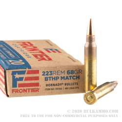 500 Rounds of .223 Ammo by Hornady Frontier - 68gr BTHP Match