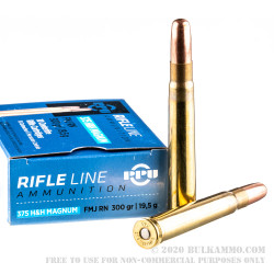 20 Rounds of .375 H&H Mag Ammo by Prvi Partizan - 300 gr FMJ