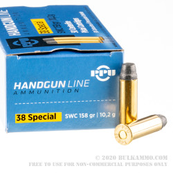 50 Rounds of .38 Special Ammo by Prvi Partizan - 158gr Semi-Wadcutter
