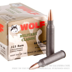 500  Rounds of .223 Ammo by Wolf WPA Military Classic - 62gr HP