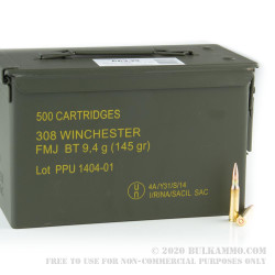 500 Rounds of .308 Win Ammo by Prvi Partizan in 50 Cal Ammo Can - 145gr FMJBT