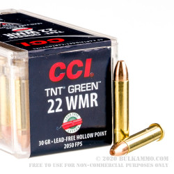 50 Rounds of .22 WMR Ammo by CCI TNT Green - 30gr HP