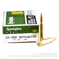 20 Rounds of .22-250 Rem Ammo by Remington - 50gr JHP