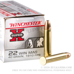 2000 Rounds of .22 WMR Ammo by Winchester Super-X - 40gr FMJ