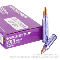 1000 Rounds of .223 Rem Ammo by Winchester DHS Purple Casing - 62gr OT