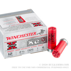"""100 Rounds of 12ga Ammo by Winchester Xpert High Velocity - 2-3/4"""" 1 ounce #6 shot"""