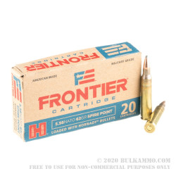 20 Rounds of 5.56x45 Ammo by Hornady Frontier - 62gr SP