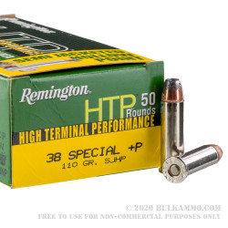 50 Rounds of .38 Spl +P Ammo by Remington HTP - 110gr SJHP