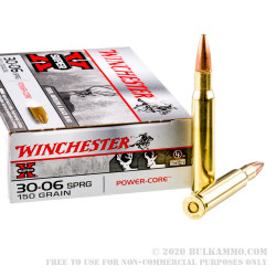 20 Rounds of 30-06 Springfield Ammo by Winchester - 150gr HPBT