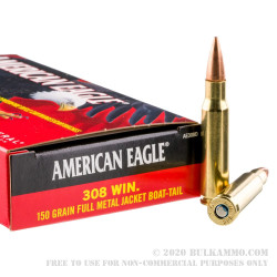 20 Rounds of .308 Win Ammo by Federal - 150gr FMJBT