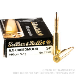 20 Rounds of 6.5mm Creedmoor Ammo by Sellier & Bellot - 140gr SP