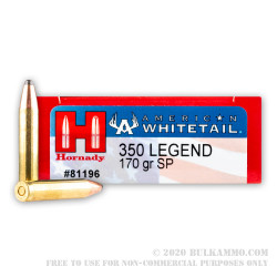 20 Rounds of .350 Legend Ammo by Hornady American Whitetail - 170gr InterLock