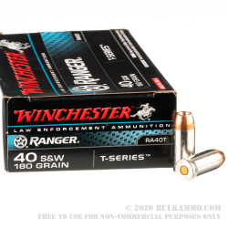 50 Rounds of .40 S&W Ammo by Winchester Ranger T-Series - 180gr JHP - LE Trade-In