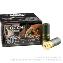 25 Rounds of 12ga Ammo by Fiocchi - 1 1/4 ounce #4 shot