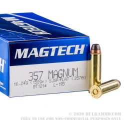 50 Rounds of .357 Mag Ammo by Magtech - 158gr SJSP