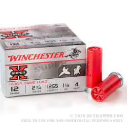 """25 Rounds of 12ga Ammo by Winchester Super-X - 2-3/4"""" 1 1/8 ounce #4 shot"""