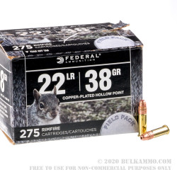 275 Rounds of .22 LR Ammo by Federal Range & Field Pack - 38gr CPHP