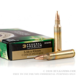 20 Rounds of 5.56x45 Ammo by Federal Premium Ballisticlean - 43 Grain OTM