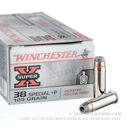 50 Rounds of .38 Special +P Ammo by Winchester Super-X - 125gr JHP