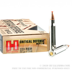 200 Rounds of .223 Ammo by Hornady Critical Defense - 55gr FTX