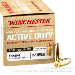 500 Rounds of 9mm Ammo by Winchester Active Duty - 115gr FMJ M1152