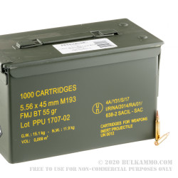 1000 Rounds of 5.56x45 Ammo by Prvi Partizan - 55gr FMJBT - Ammo Can