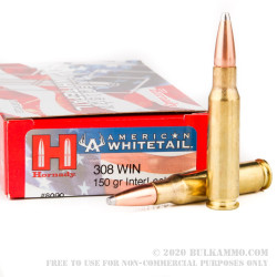 200 Rounds of .308 Win Ammo by Hornady American Whitetail - 150gr SP
