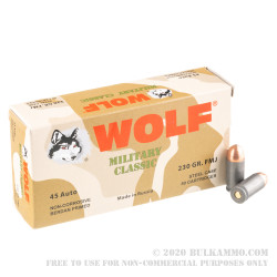 500 Rounds of .45 ACP Ammo by Wolf Military Classic - 230gr FMJ
