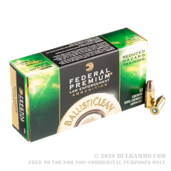 50 Rounds of 9mm Ammo by Federal LE BallistiClean - 100gr RHT Frangible