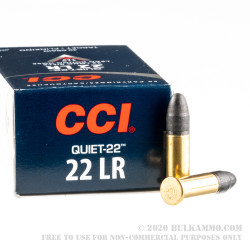 50 Rounds of .22 LR Quiet Ammo by CCI - 40gr LRN