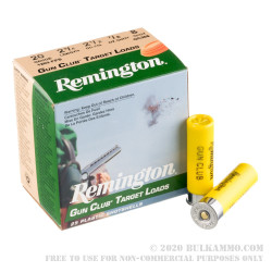 250 Rounds of 20ga Ammo by Remington Gun Club - 7/8 ounce #8 shot
