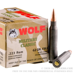 500  Rounds of .223 Ammo by Wolf WPA - 62gr FMJ