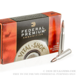 20 Rounds of .270 Win Ammo by Federal Vital-Shok - 150gr Nosler Partition